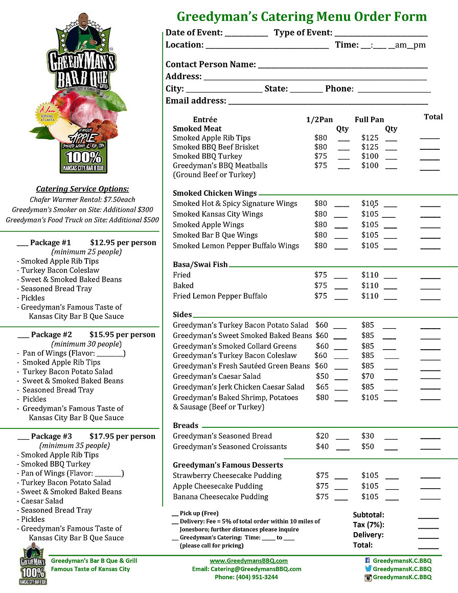 Greedyman's Bar B Que & Grill Catering Order Form