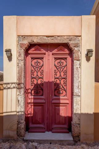Red shaped door