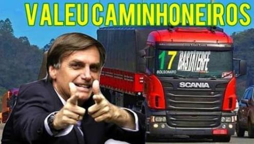 Sim, Bolsonaro foi apoiado pelos caminhoneiros em sua maioria. Buscamos mudança!