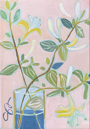 """5x7 """"Honeysuckle"""" original painting on gallery wrapped canvas"""