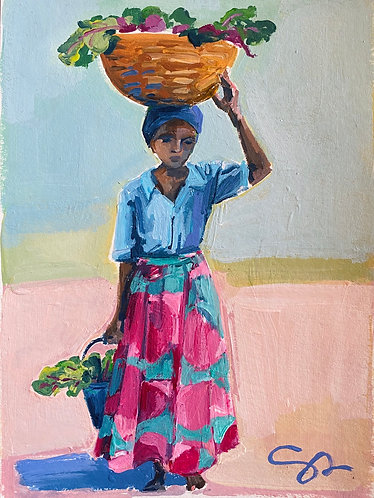 """5x7 """"Her Basket Overflows"""" original painting on heavy paper"""