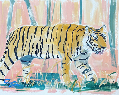 8x10 original tiger painting