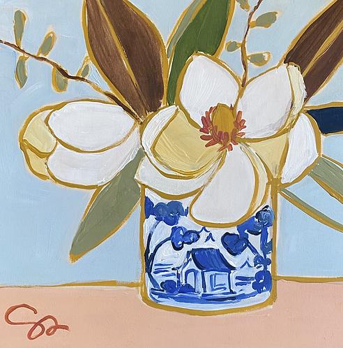 8x8 original Magnolia painting on wood panel