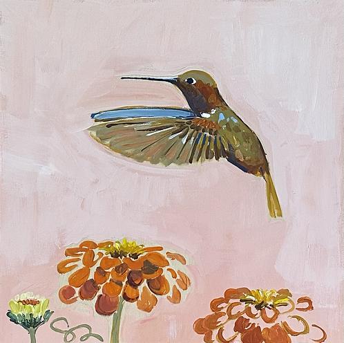 "8x8 ""Hummingbird and Zinnias"""