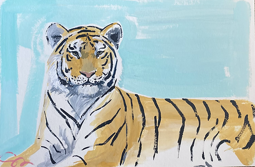 6x9 original tiger painting on heavy paper