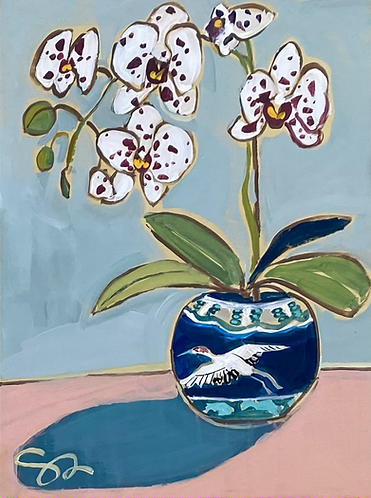 "9x12 ""Orchid in Vintage Vase"""