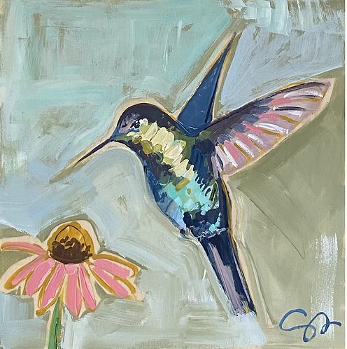"8x8 ""Hummingbird and Cone Flower"""