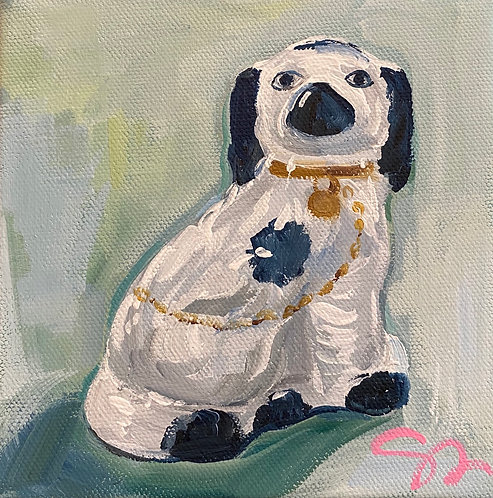 "6x6 wide edge ""Mantel Dog"" original painting"