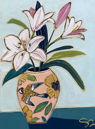 """9x12 """"Lilies in Vintage Vase"""""""