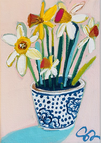 5x7 wide edge original Daffodils painting