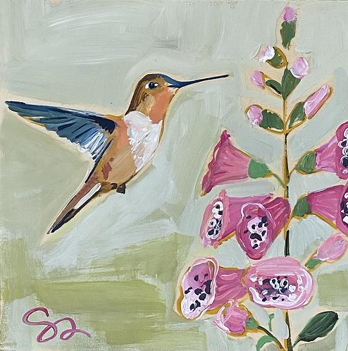"8x8 ""Hummingbird and Foxglove"""