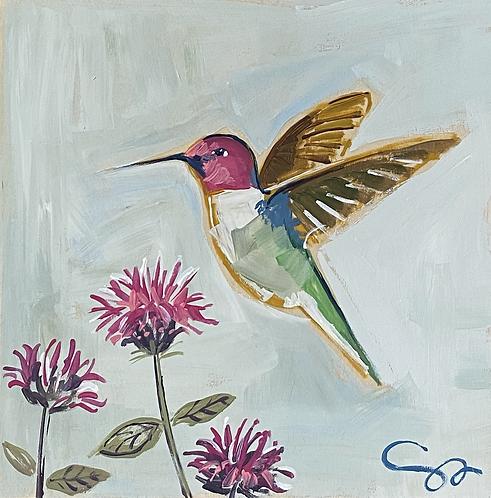 "8x8 ""Hummingbird and Bee Balm"""