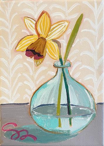 5x7 wide edge original Daffodil painting