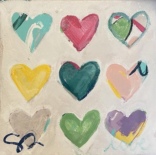 "(Pre-or6x6 wide edge original painting ""conversation hearts"""