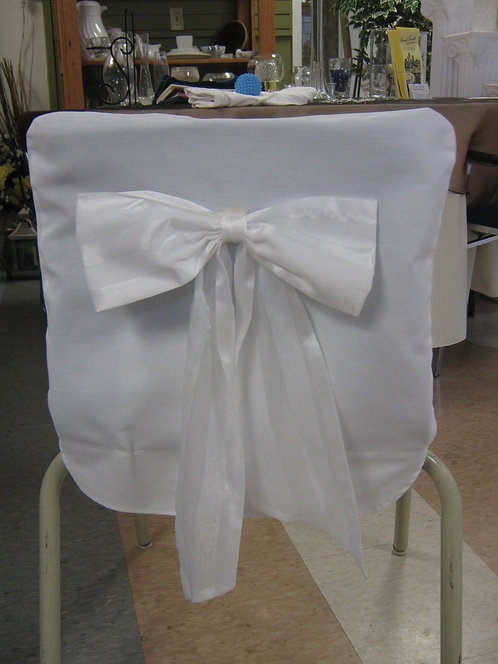 Fitted Chair Cover ~ White Cotton (Back)