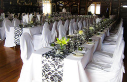 Black & White Damask Runners & Universal Chair Covers