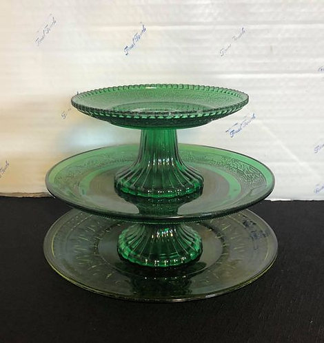 Green Glass  Candy Tray