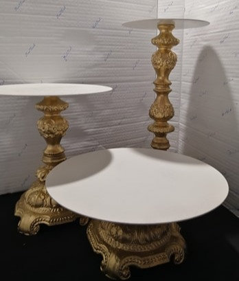 Gold & Ivory Metal Cake Stand