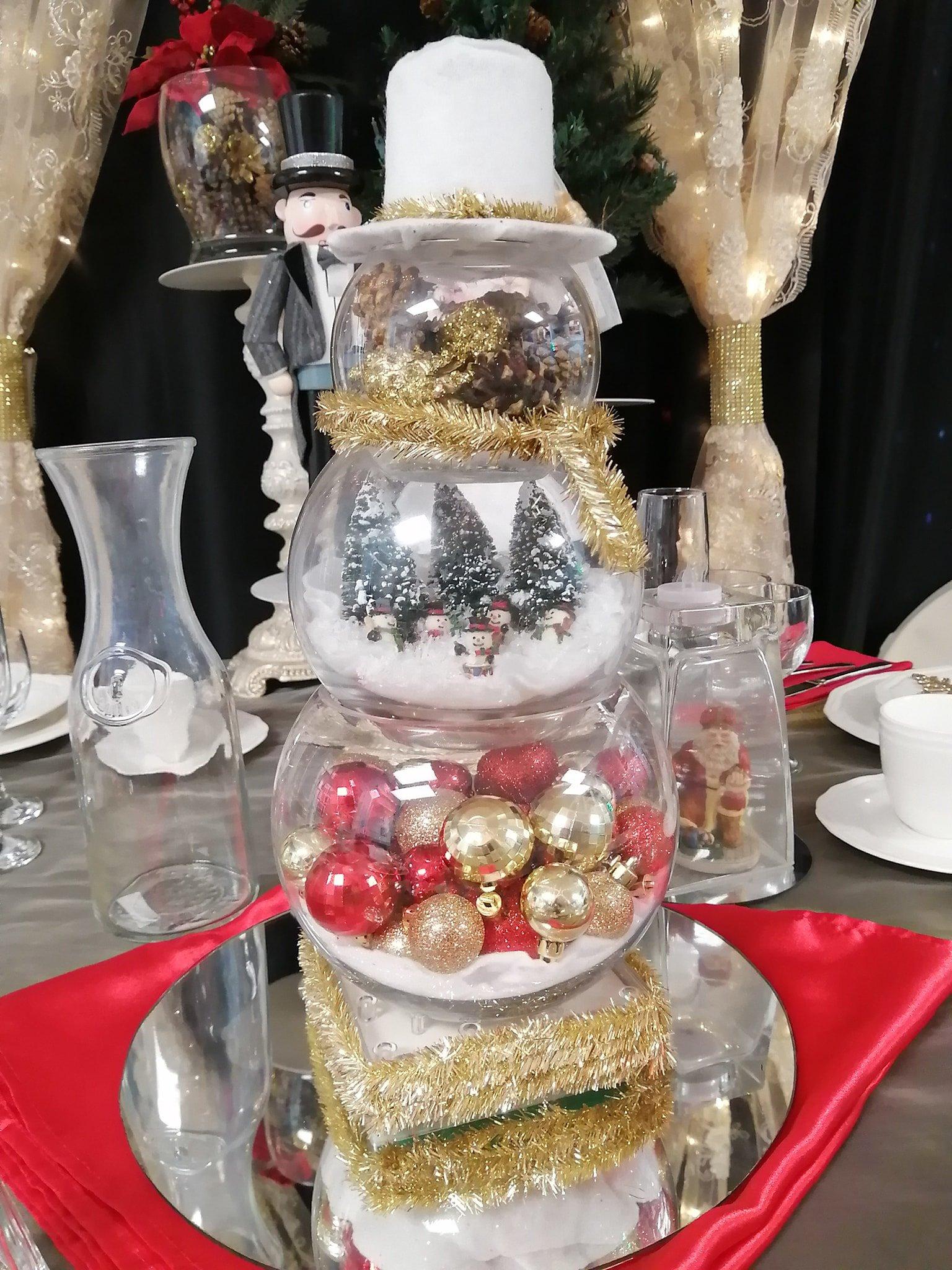 Snowman Village Centerpiece - Showroom Example