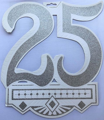 """Silver """"25"""" Anniversary Hanging Sign"""