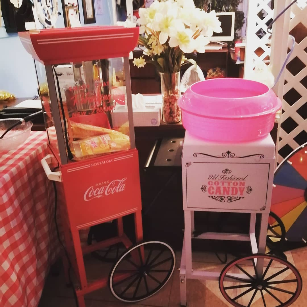 Standing Popcorn & Cotton Candy Machines