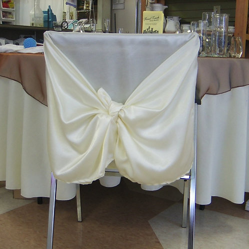 Chair Cover ~ Ivory Satin (Back)