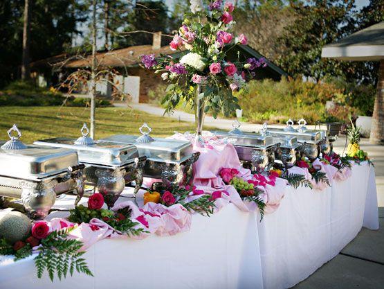 Pink & Green Buffet Line Setup