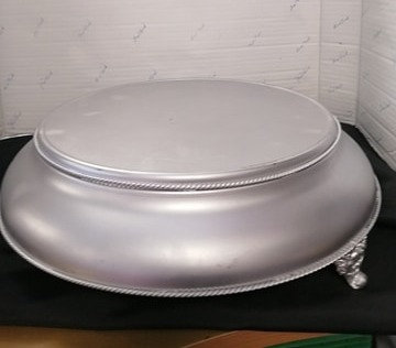 """14"""" Silver Cake Stand w/Feet"""