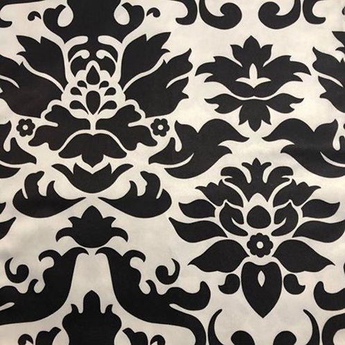 Table Topper ~ White & Black Damask