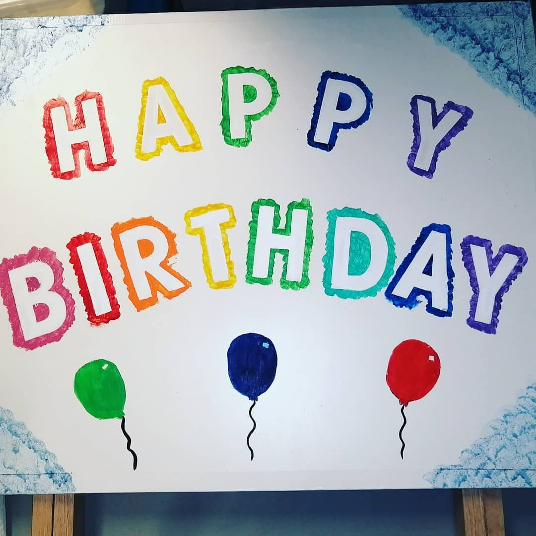 """Happy Birthday"" Wooden Lawn Sign"