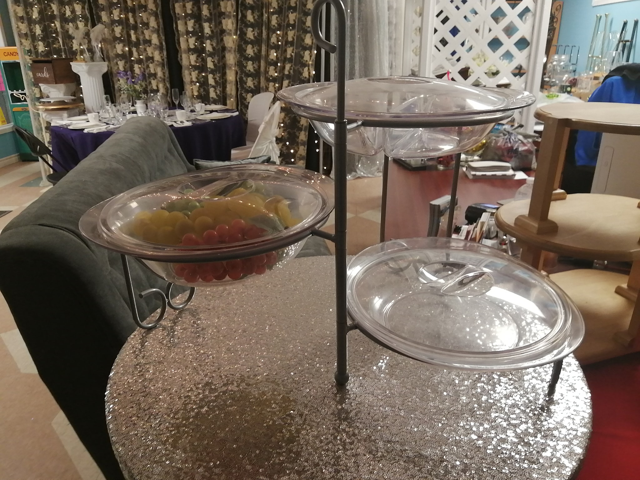 Tri-Level Acrylic Food Serving Stand