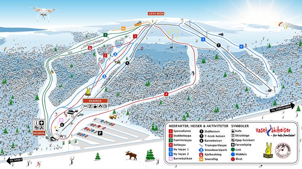 Vaset skiheiser kart