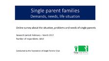 Single parent families - online survey