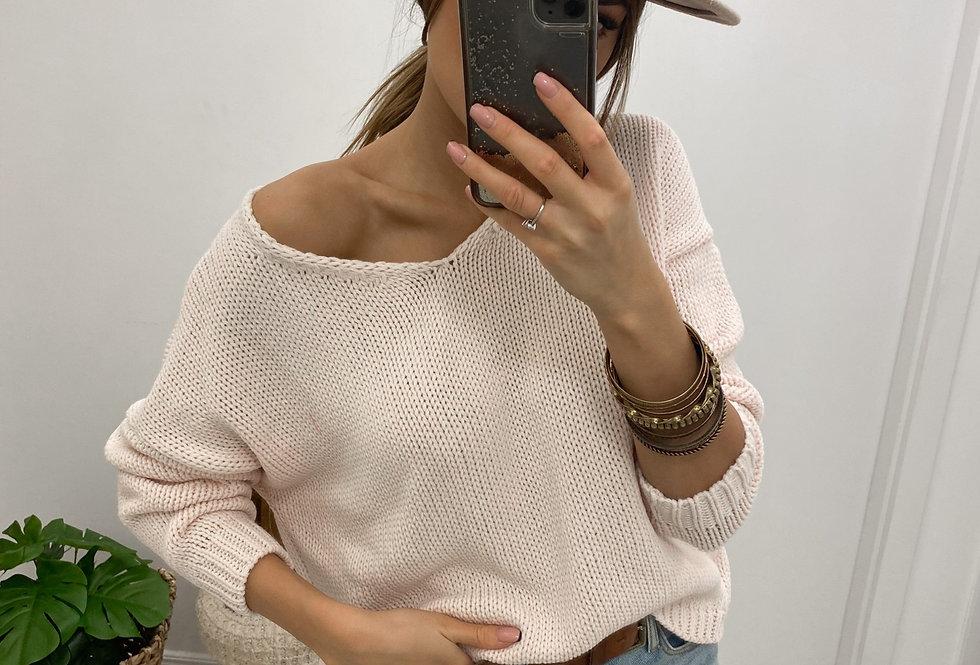 Sweter V-classic puder