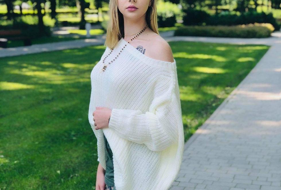 Sweter szeroki oversize ecru