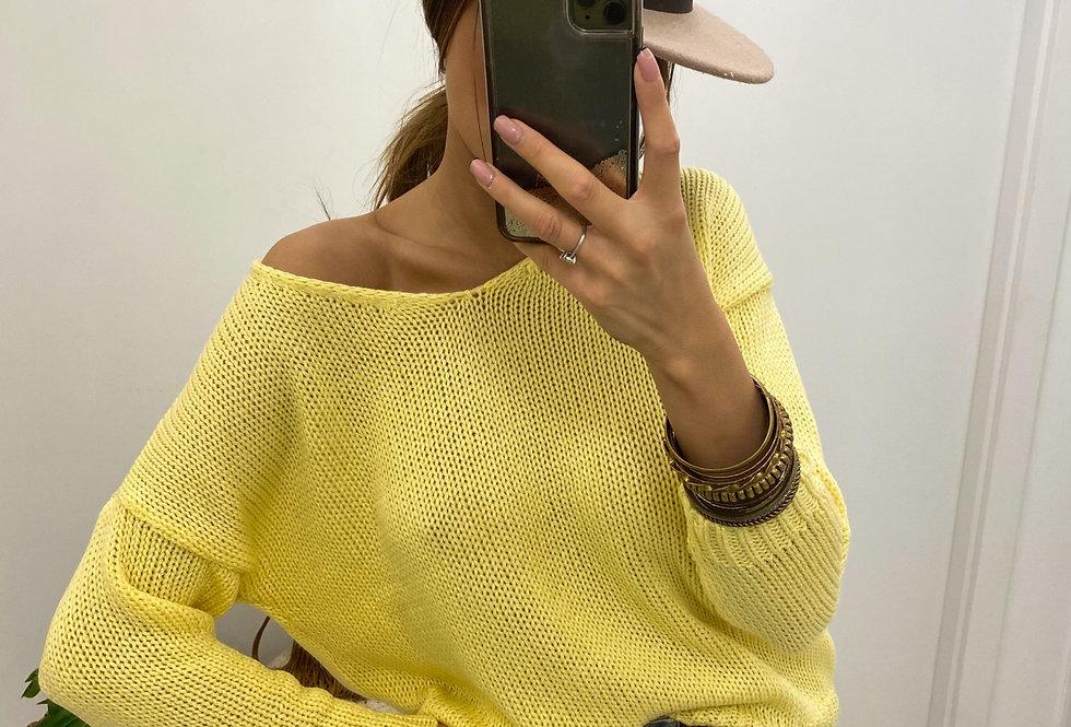 Sweter V-classic żółty