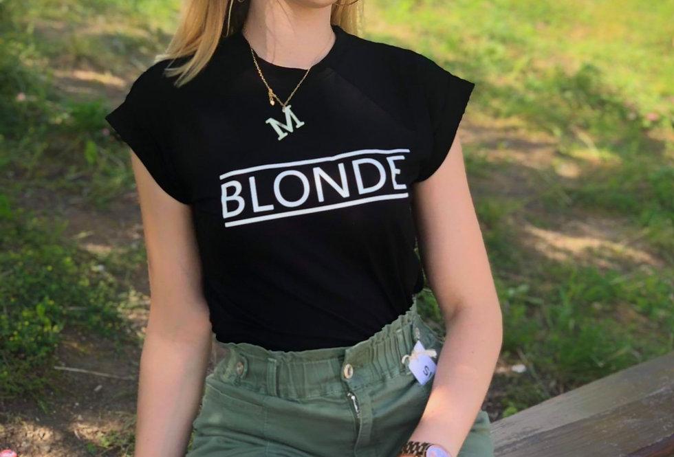 T-SHIRT BLONDE CZARNY
