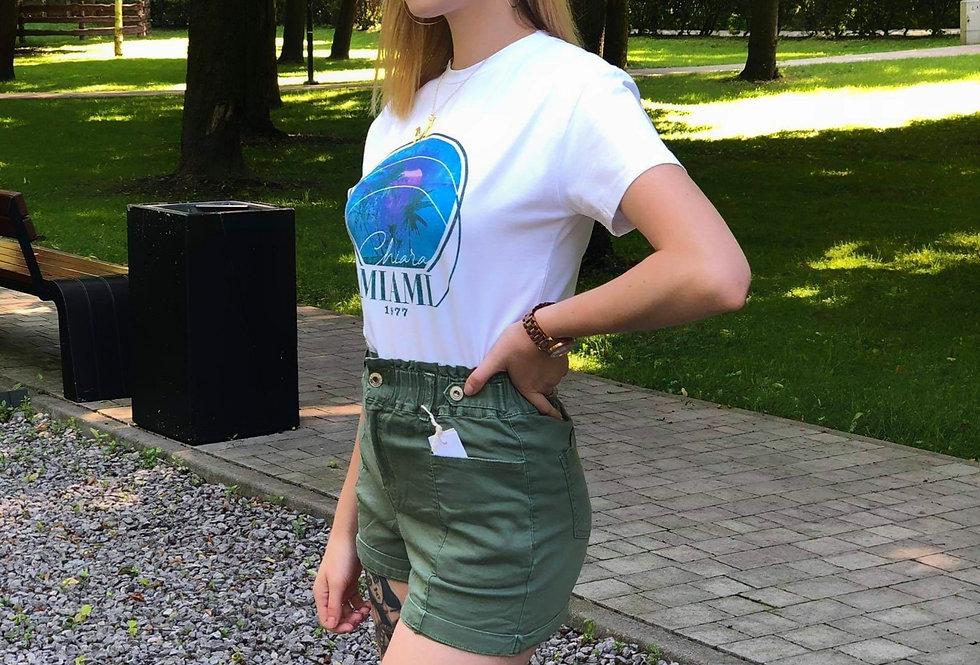 T-shirt MIAMI BLUE - White