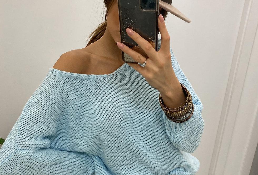 Sweter V-classic błękitny