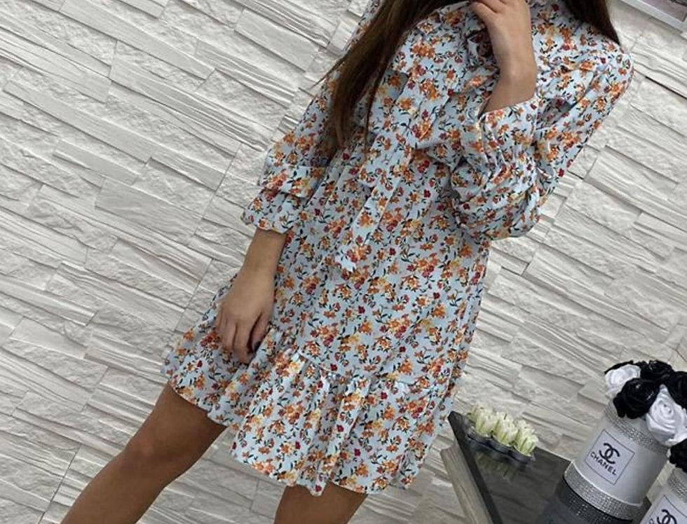 Tiulowa sukienka mini z falbankami