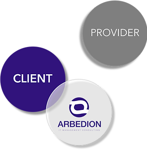 Arbedion is independent and takes side with the client to manage IT providers