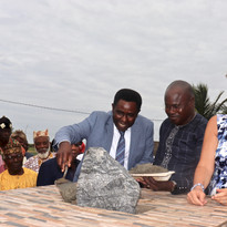 Laying of the foundation stone ABZ project manager help alliance with Prefect of Lac Togo and treasurer