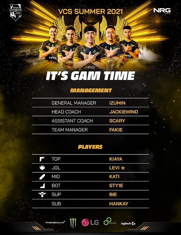 GAM giữ nguyên đội hình đương kim vô địch đến với VCS mùa hè 2021
