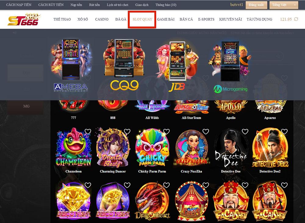 Sảnh Slot game tại ST666