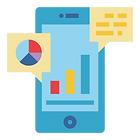 Icon of phone with charts and data, signifying Take Action with PlaceBuilder