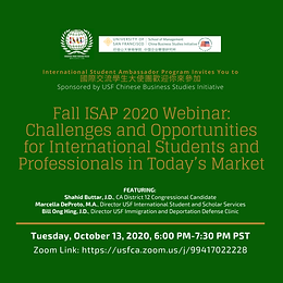 FALL ISAP 2020 WEBINAR: CHALLENGES AND OPPORTUNITIES FOR INTERNATIONAL STUDENTS AND PROFESSIONALS IN TODAY'S MARKET