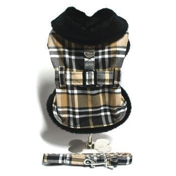 Brown Plaid Classic Coat Harness with Leash