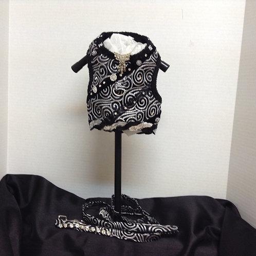 Black & Silver Brocade Minky Plush Harness w Leash