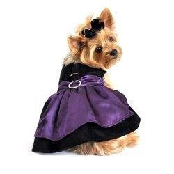 Black Velvet & Purple Satin Harness Dress w/ Leash