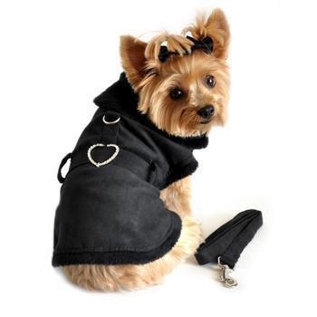 Black Suede Fur-Lined Dog Coat Harness